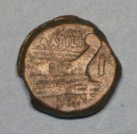 Moneta in bronzo Giano Bifronte (Lato retro con prua di nave)